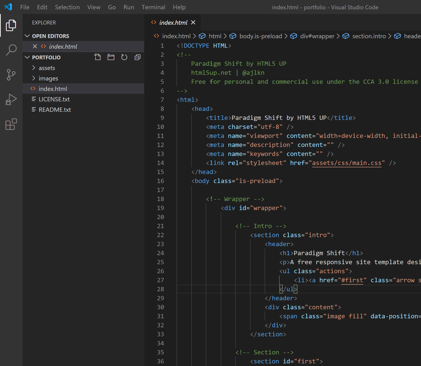 Index.html opened in VS Code
