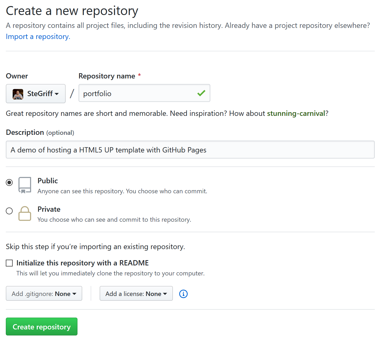 Name and settings for new GitHub repository