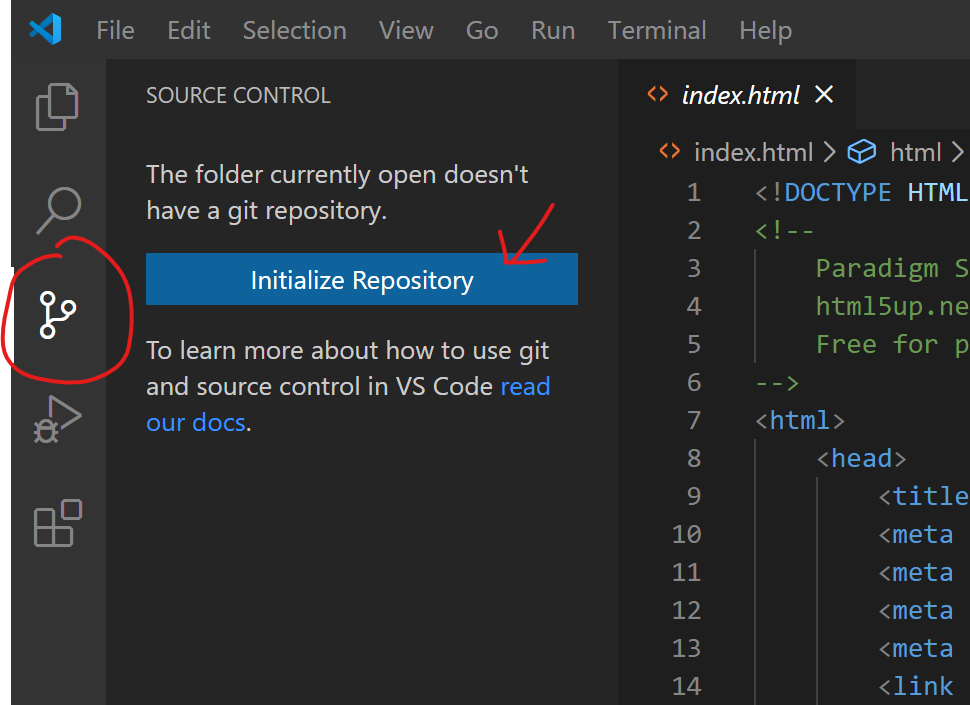 Initialize repo in VS Code